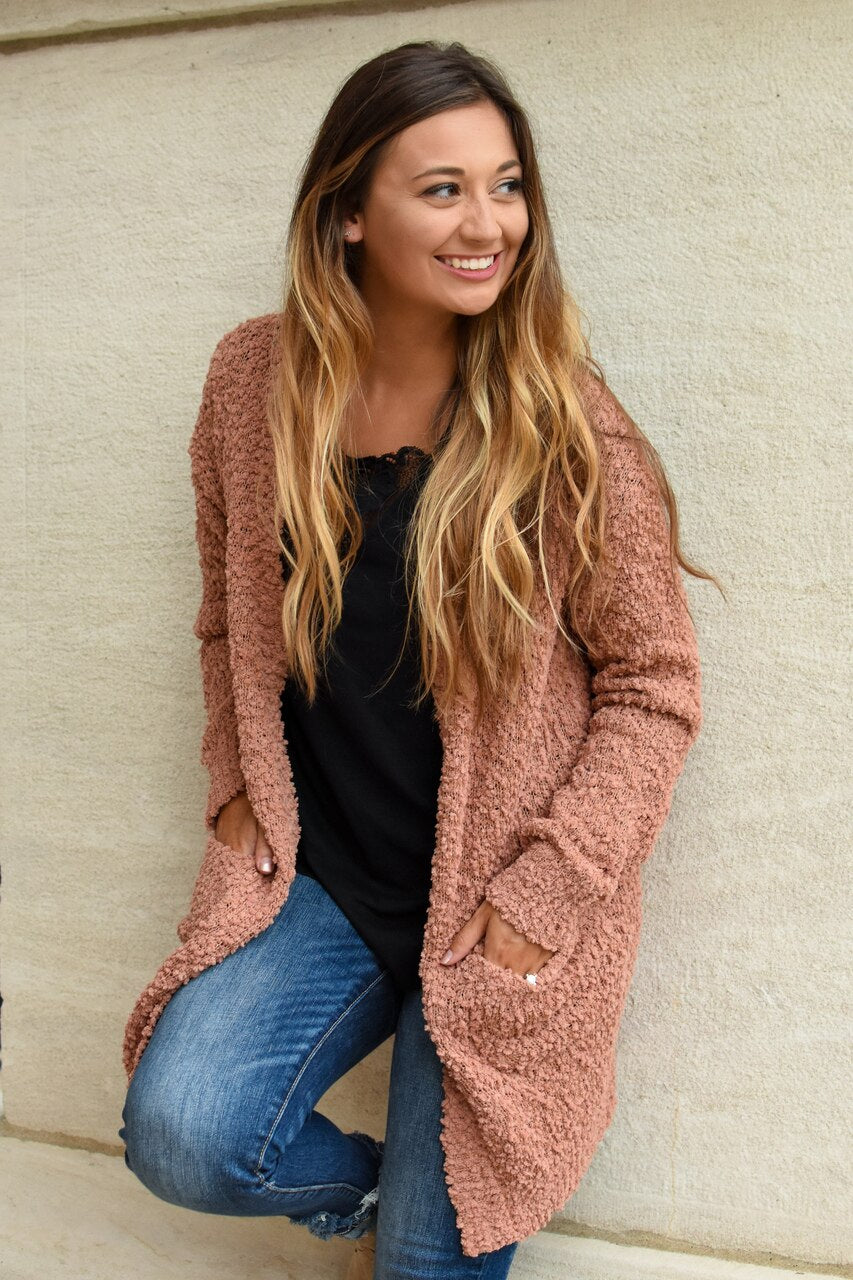Ready For Anything Popcorn Cardigan N. Clay