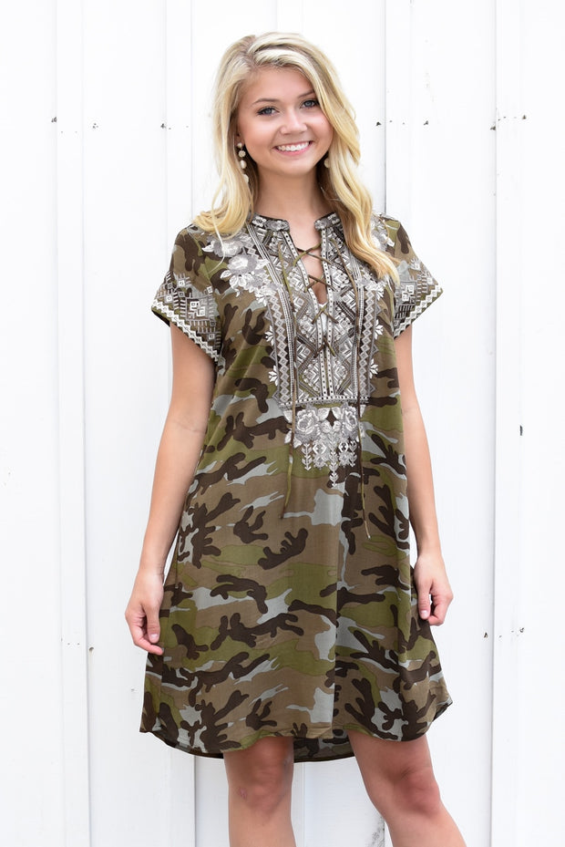 Izzy Embroidered Dress Camouflage