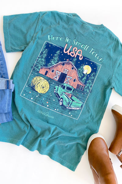 """Here In Small Town USA"" Anna Grace T-Shirt S/S"