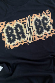 Rocker Babe Leopard Graphic Tee Black