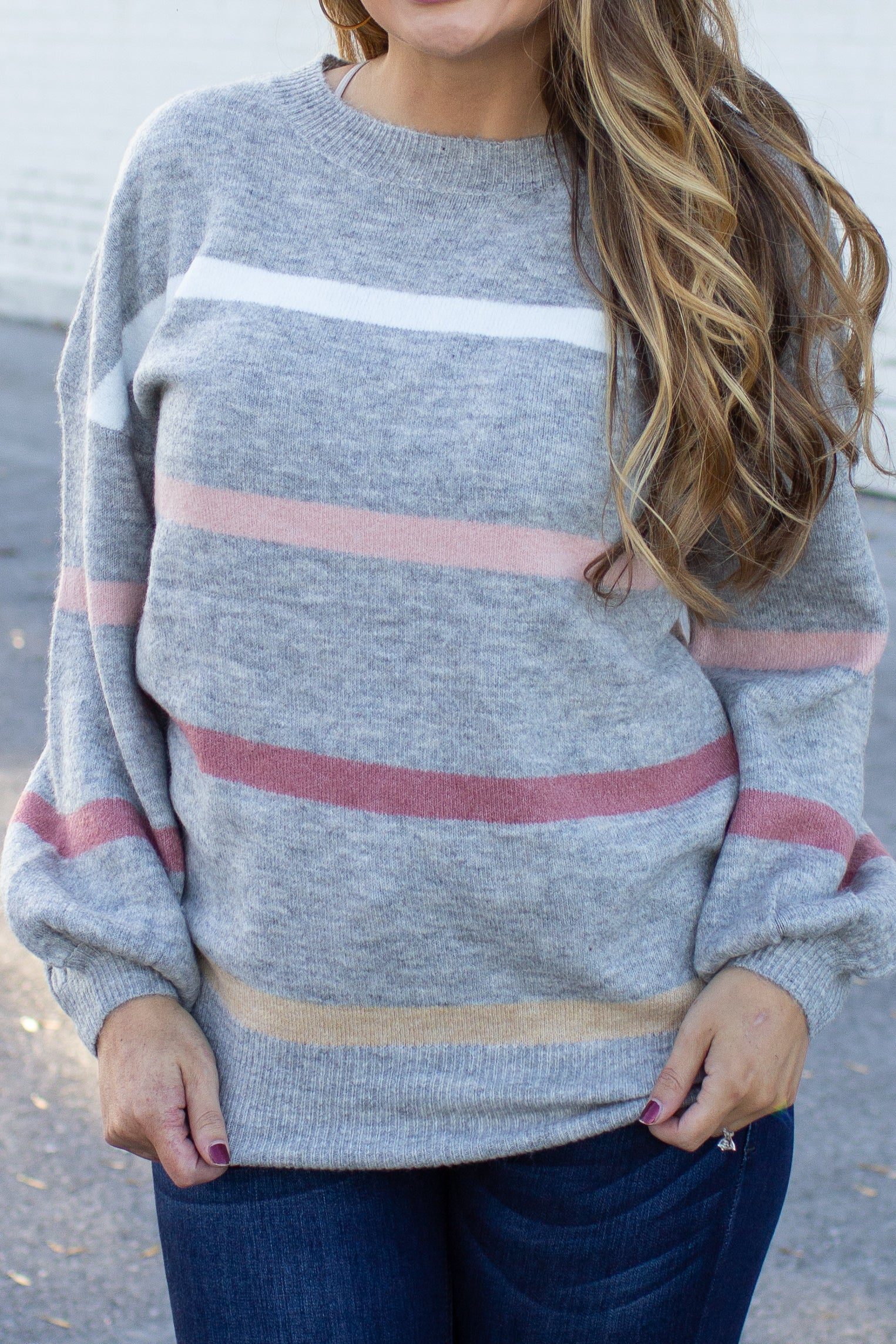 As The Seasons Change Striped Sweater Grey
