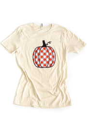 Orange Plaid Pumpkin Graphic Tee Oatmeal