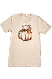 Watercolor Pumpkin Graphic Tee Oatmeal - FINAL SALE
