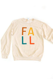 Fall Multicolor Crew Sweatshirt Beige