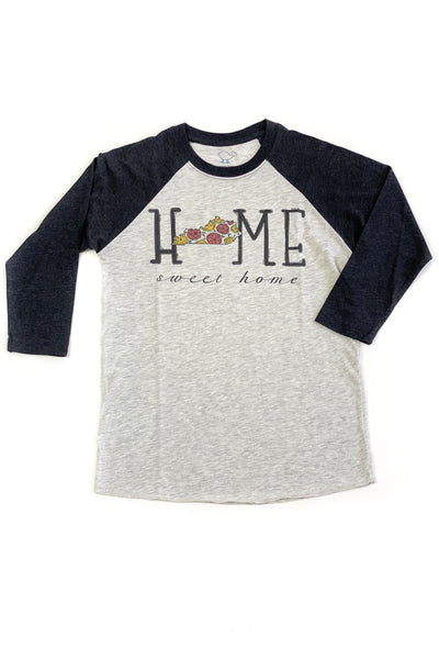 """Home Sweet Home"" Floral KY Raglan Black - FINAL SALE"