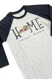 """Home Sweet Home"" Floral KY Raglan Black"