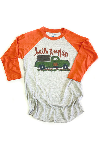 """Hello Pumpkin"" Raglan Orange"