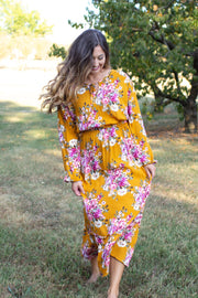 Elliana Floral Midi Dress Mustard