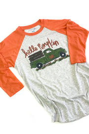 """Hello Pumpkin"" Raglan Orange - FINAL SALE"