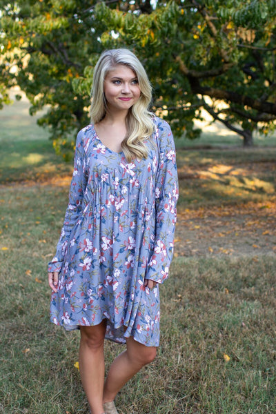 Callie Floral Full Sleeve Dress Dusty Blue