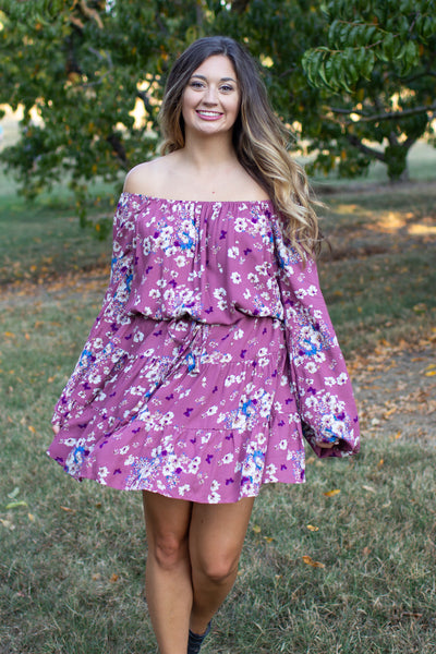 Clover Floral Off The Shoulder Dress Magenta