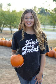 Trick Or Treat Distressed Wash Graphic Tee