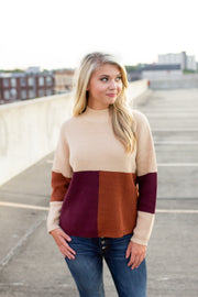 Lennox Color Block Knit Sweater Taupe/Burgundy