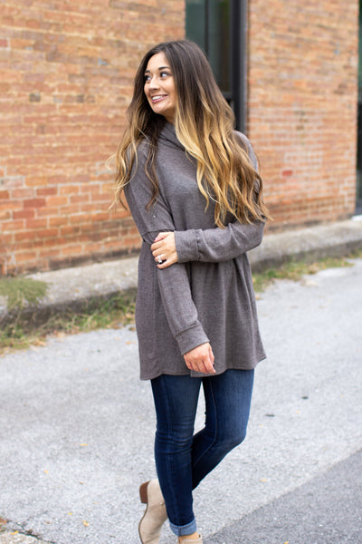 Kimberly Cowl Neck Cozy Top Mocha