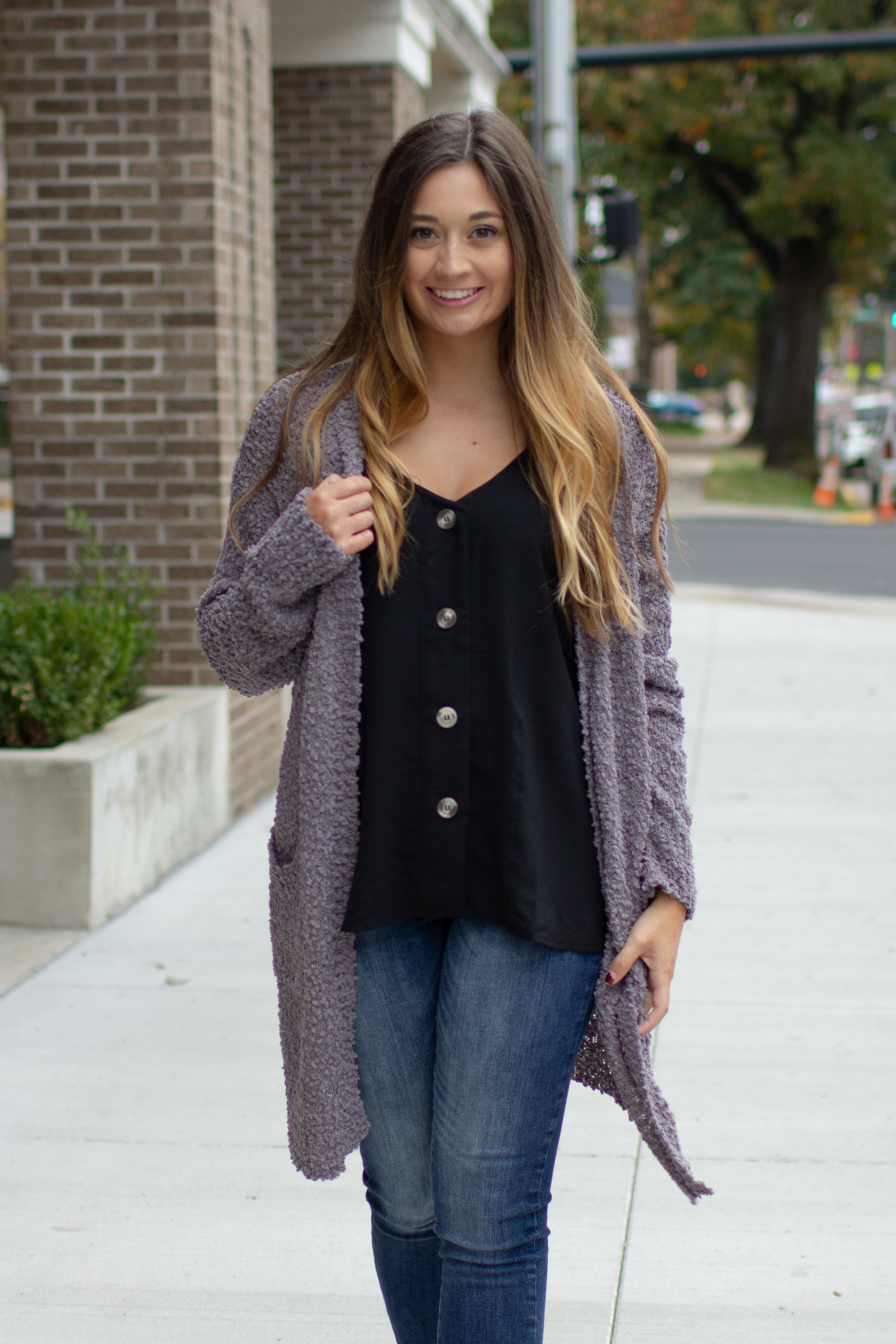 Ready For Anything Popcorn Cardigan Grey