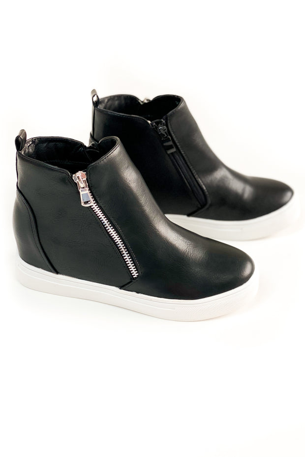 """Arden"" Wedge Sneakers Black"