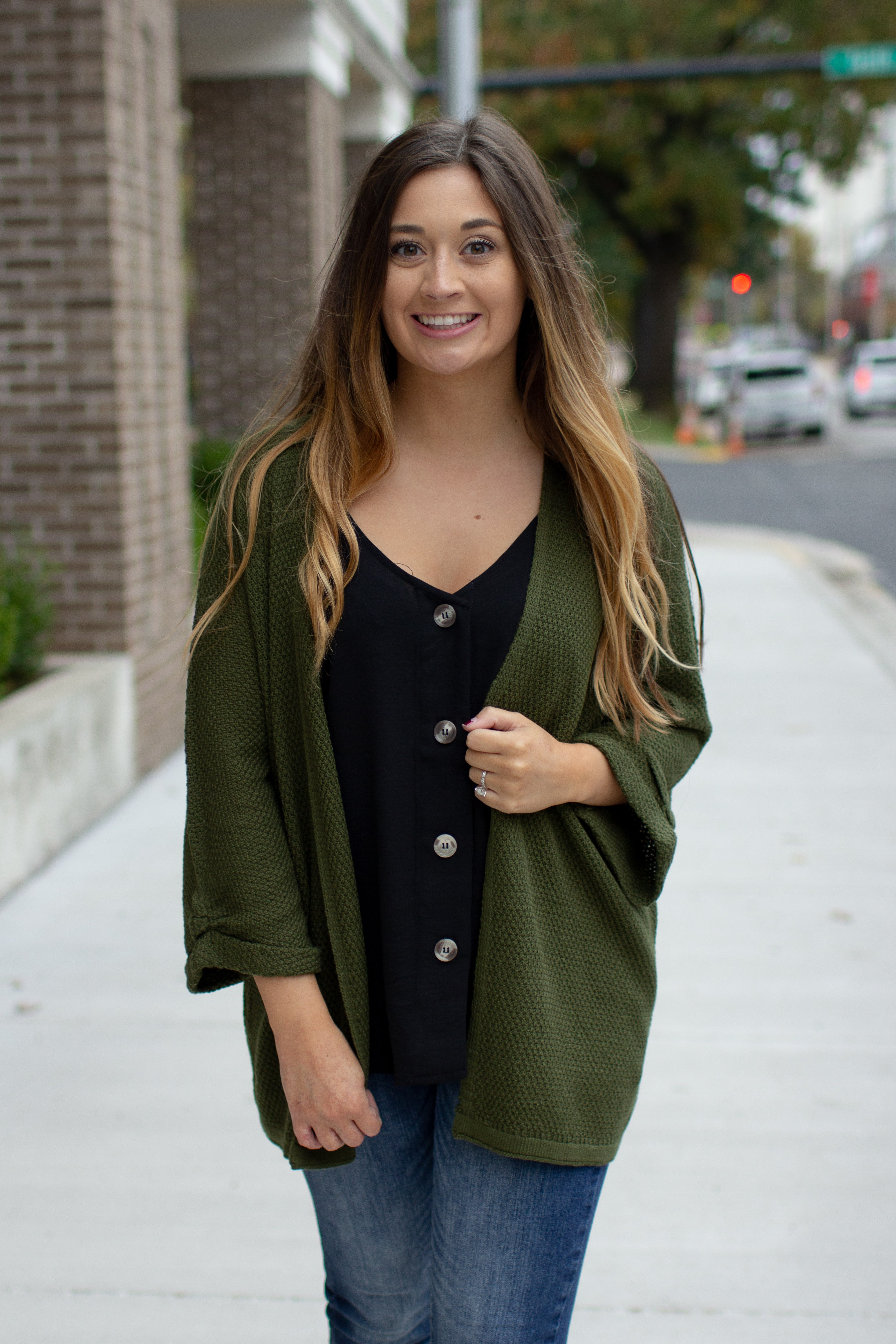 Layla Textured Knit Open Cardigan Olive