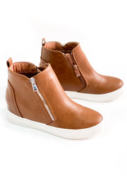 """Arden"" Wedge Sneakers Camel"