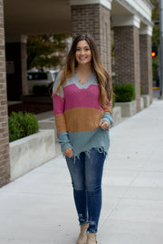 On The Fray Color Block Sweater Grey/Pink
