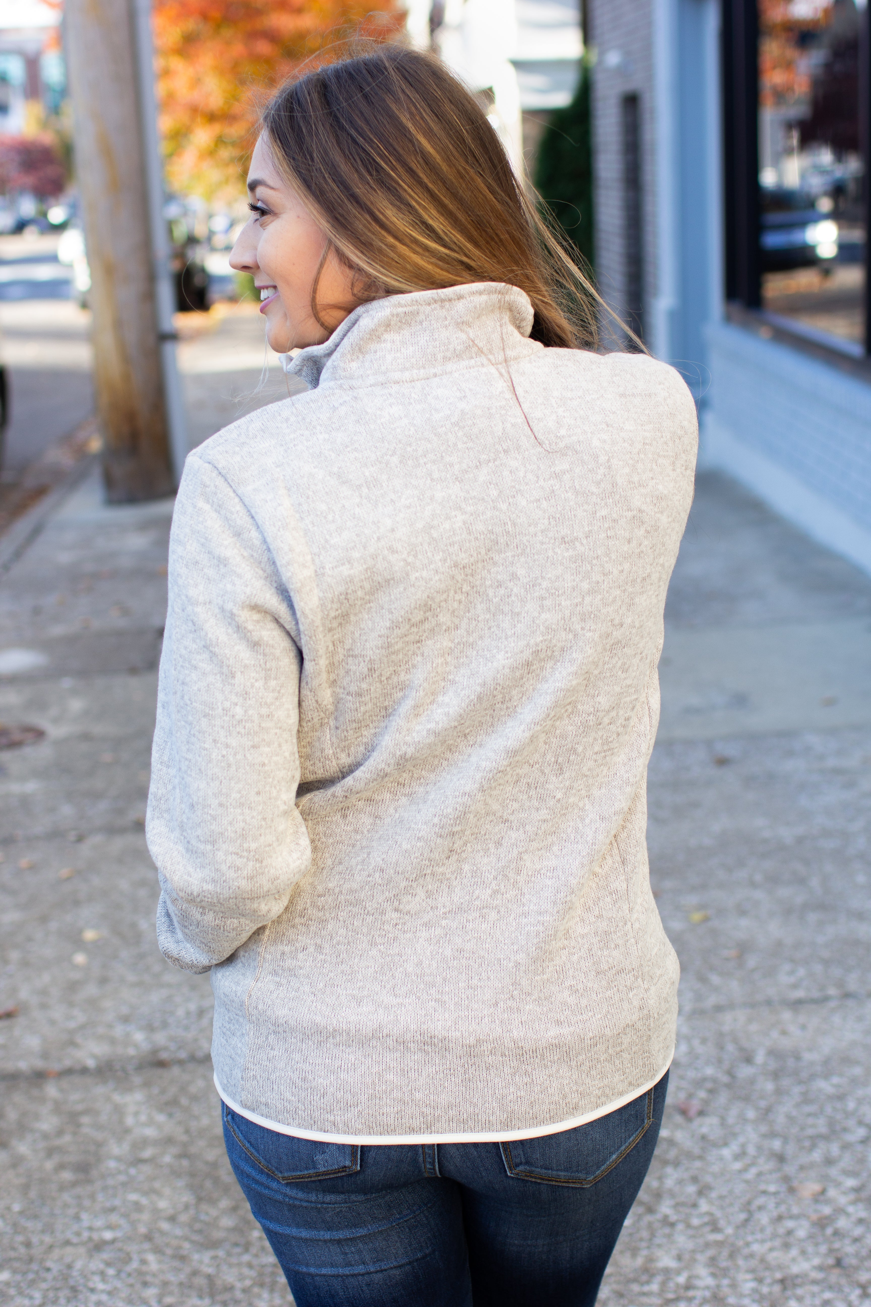 CRA Heathered Quarter Zip Pullover Oatmeal