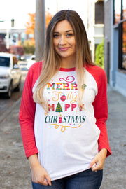 """Merry Jolly Happy"" Christmas Raglan"