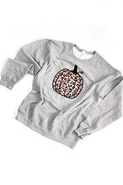 Leopard Pumpkin Sweatshirt Grey/Orange