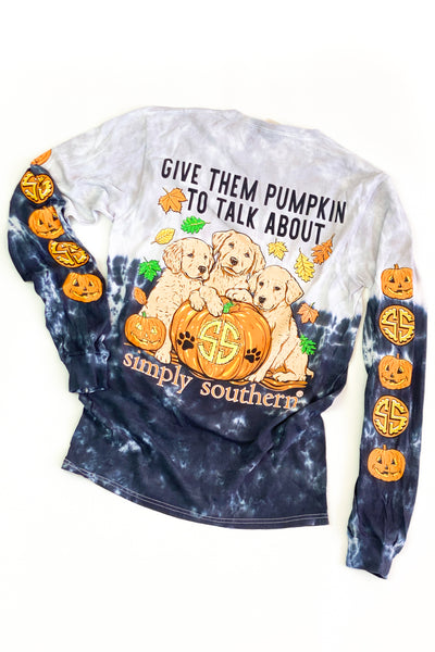 """Pumpkin To Talk About"" Tie-Dye Simply Southern L/S T-Shirt - FINAL SALE"