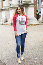 """Christmas In Kentucky"" Raglan Red"