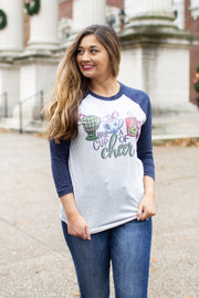 """Cup of Cheer"" Raglan Navy"