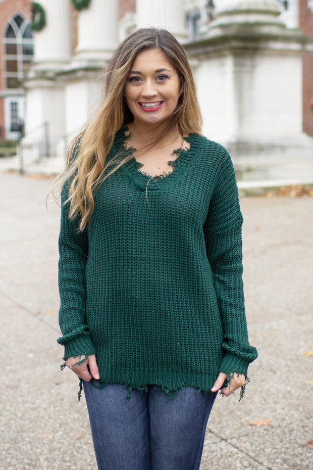 On The Edge Frayed Sweater Emerald