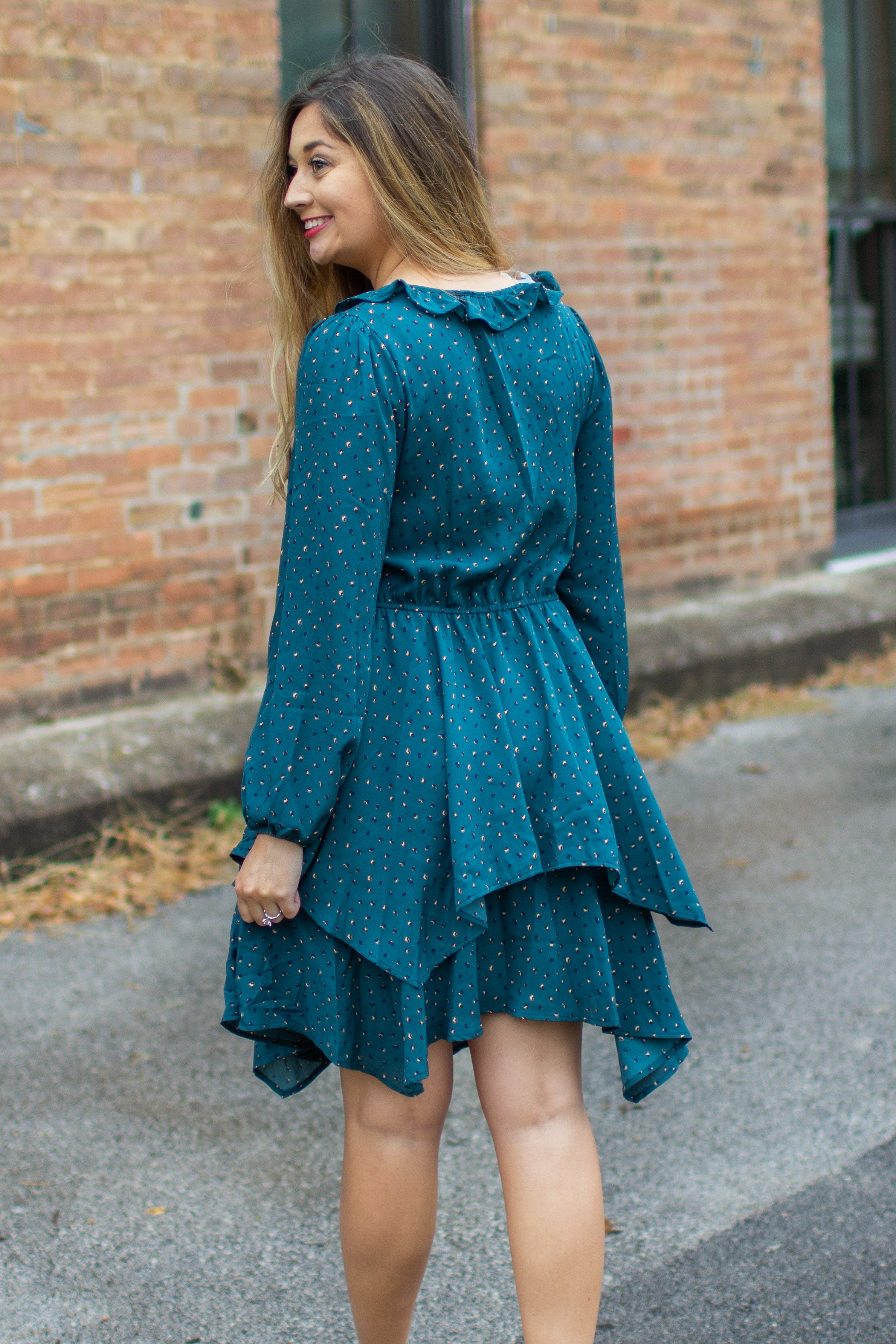 """Evergreen"" Printed Ruffle Dress"
