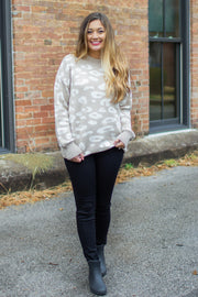 """Spot On"" Leopard Print Sweater Taupe"