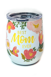 """Best Mom"" Stainless Drink Tumbler Floral"