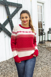 Jingle All The Way Printed Sweater Red/Ivory