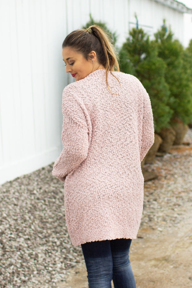 Ready For Anything Popcorn Cardigan Powder Pink