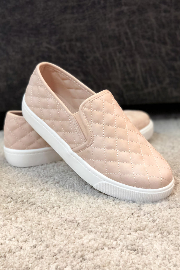 """Reese"" Quilted Slip On Sneakers Blush"