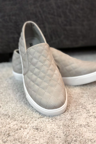 """Reese"" Quilted Slip On Sneakers Grey"