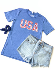 USA Patriotic Leopard Graphic Tee