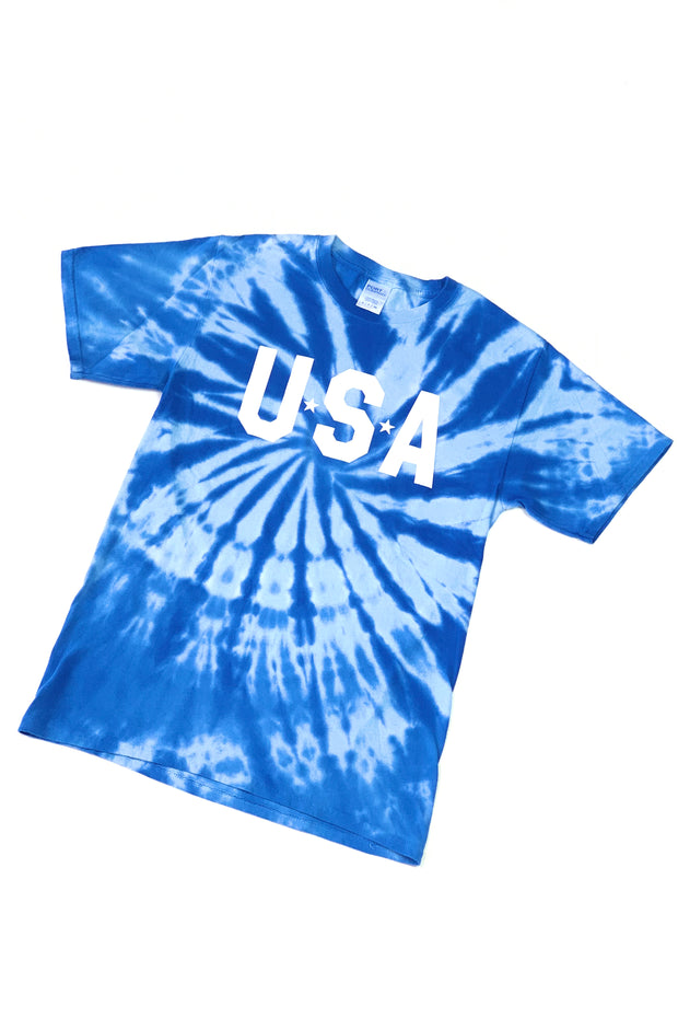 USA Tie-Dye Graphic T-Shirt Blue
