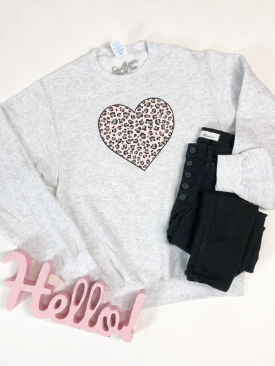 """Leopard Love"" Fleece Crew Pullover"