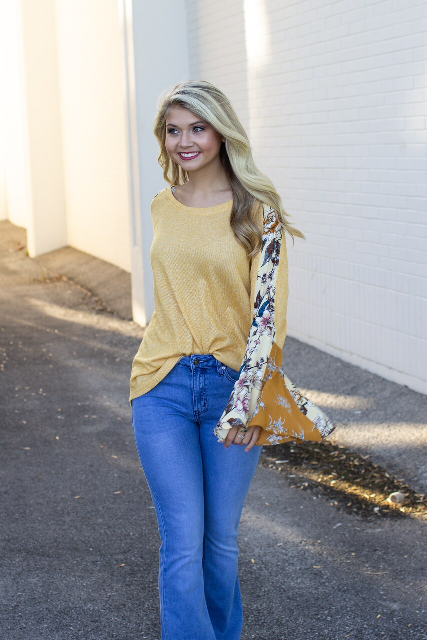 Susanna Floral Bell Sleeve Top Yellow