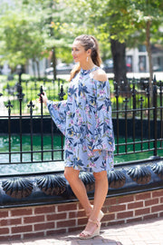 Priscilla Cold Shoulder Dress Blue Floral