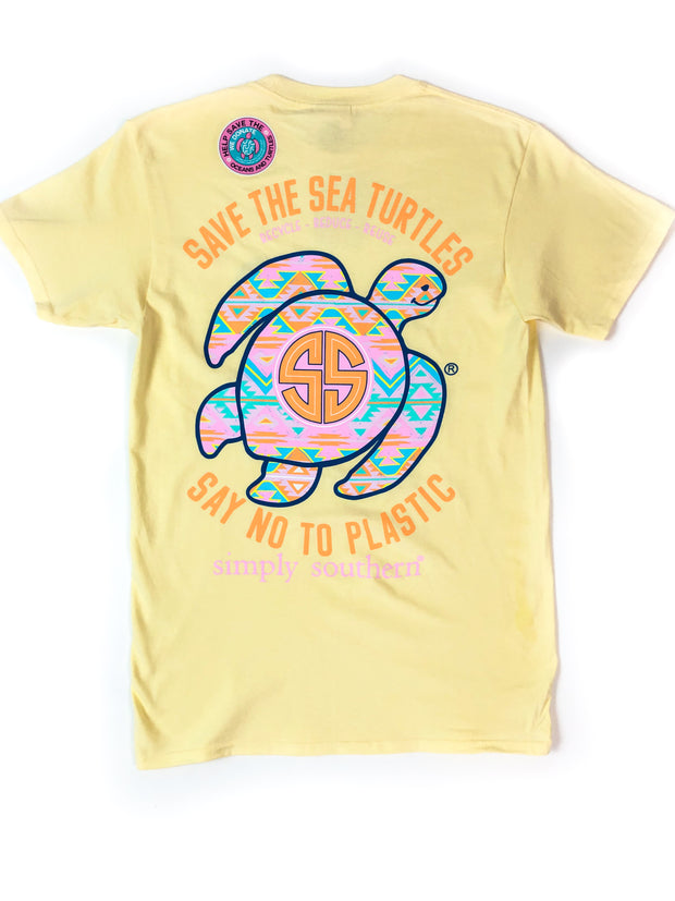Save Turtles Aztec Simply Southern T-Shirt S/S