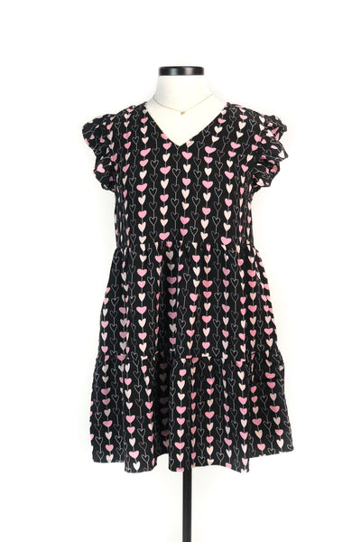"""Blushing Hearts"" Ruffle Dress Black"