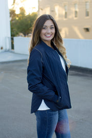 Women's Quilted Boston Flight Jacket Navy