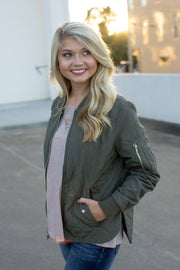 Women's Quilted Boston Flight Jacket Olive