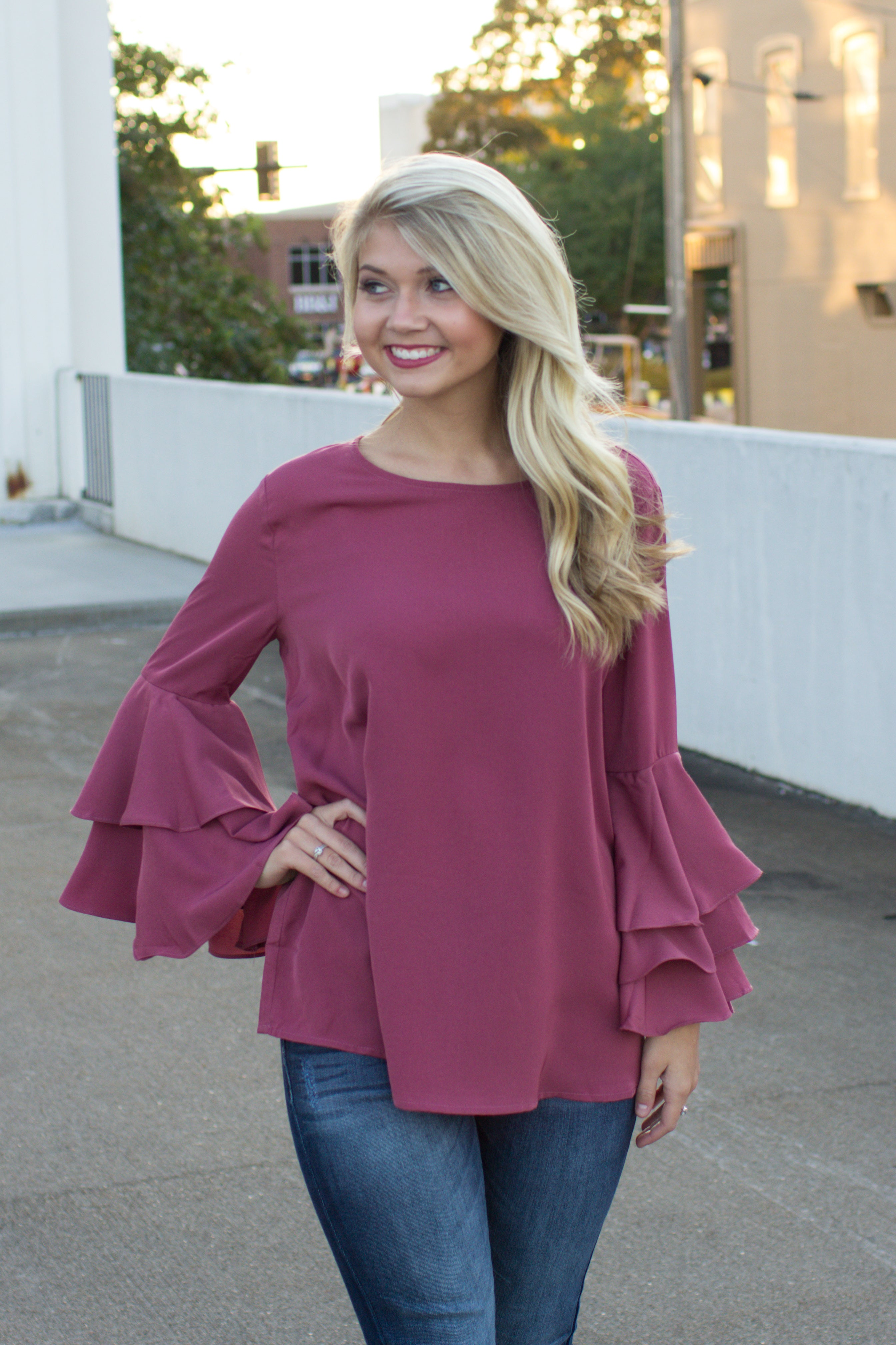 Genevieve Ruffle Bell Sleeve Blouse Rose