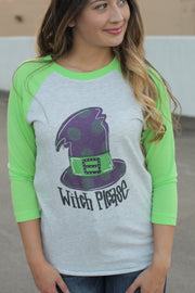 Witch Please Raglan Green