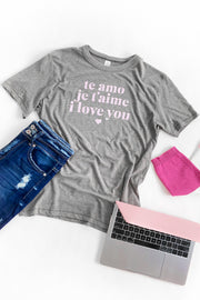 Love Language Graphic T-Shirt Grey