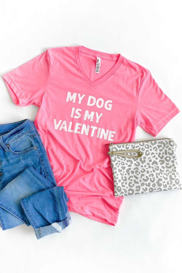 """Dog Is My Valentine"" Graphic T-Shirt Bright Pink"